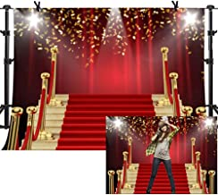 MME 7x5Ft Red Curtain Background Red Carpet Stairs Props Vinyl Photography Video Backdrop NANME853