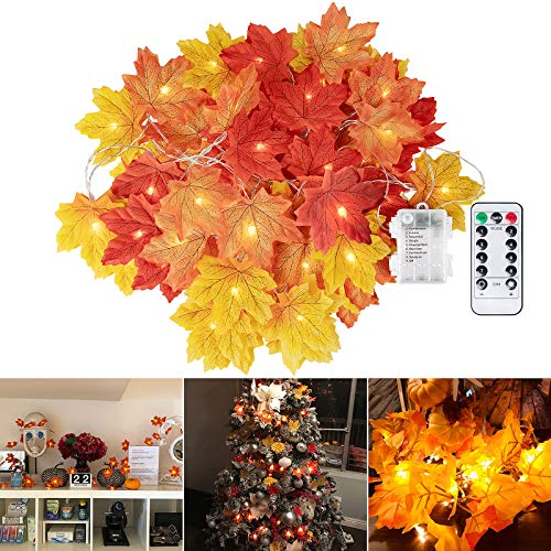 Brightown Fall Maple Leaf String Lights, 20Ft. 40 LED Battery Powered Harvest, Waterproof Orange Fall Garland Lights Decor for Party Indoor Outdoor Thanksgiving, Warm White