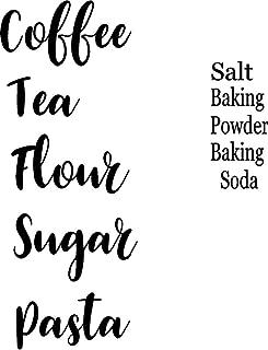 CreativeSignsnDesigns Kitchen Canister Decals Flour Sugar Coffee Tea Pasta Salt Baking Power & Soda (Black)