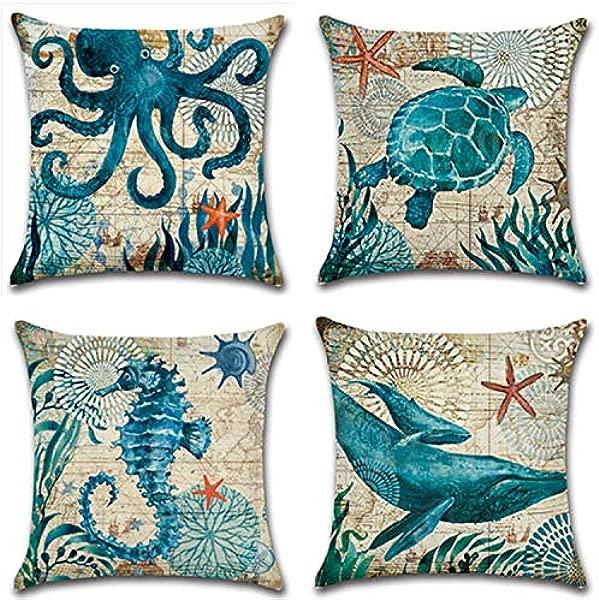 ETZON 蓝色海洋装饰户外 18x18 抱枕套海生物抱枕海岸海洋生活装饰沙发枕套沙发枕亚麻航海枕套靠垫套