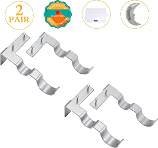 Difenlun Double Curtain Rod Brackets Holders,2 Pairs(4Pcs) No Drill Adjustable Tap Right Into Window Frame for Window Bedroom Decoration