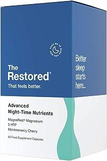 5-HTP. magnesio. cereza Montmorency. melatonina natural para mejorar el sueño. complejo vitamínico B. manzanilla. triptófano L. fabricado en el Reino Unido por The Restored…