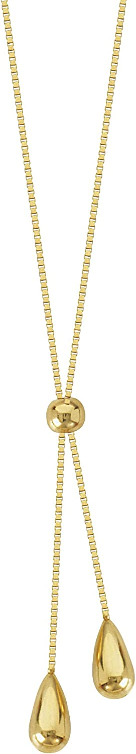 Gold Necklace, 14Kt Gold Box Chain Lariat With Double Beads Ends