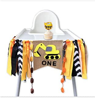 Construction Themed Highchair Banner for First Birthday Smash Cake Photo Shoot,Party Supplies and Decorations for Baby Boy's 1st Year Bday,Chair Garland for Picture Backdrop,Pre-assembles No Need DIY