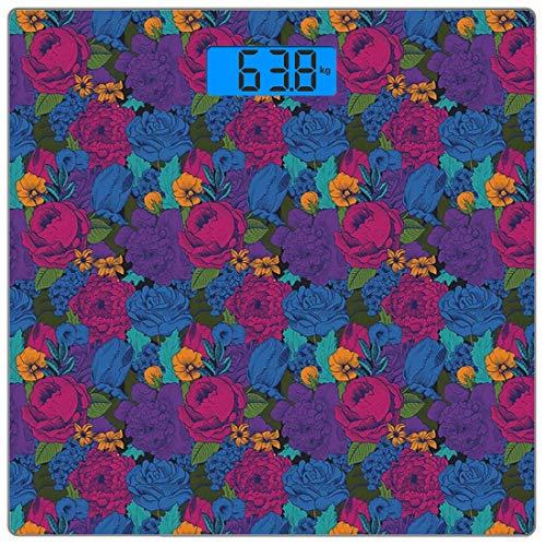 Digitale Präzisionswaage für das Körpergewicht Platz Blumen Ultra dünne ausgeglichenes Glas-Badezimmerwaage-genaue Gewichts-Maße,Vintager üppiger Blumenstrauß-vibrierendes Shabby Chic blüht im exotisc
