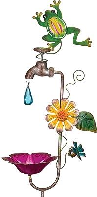 Regal Art & Gift 12150 Faucet Bird Feeder Frog Garden Stake, Green/Yellow