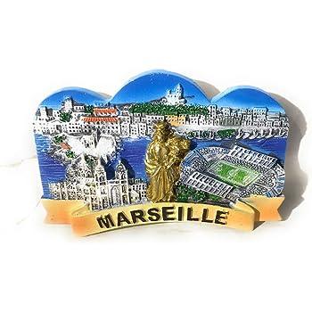 Magnet Ville de Marseille Multicolore 9x7 cm Pec as de coeur