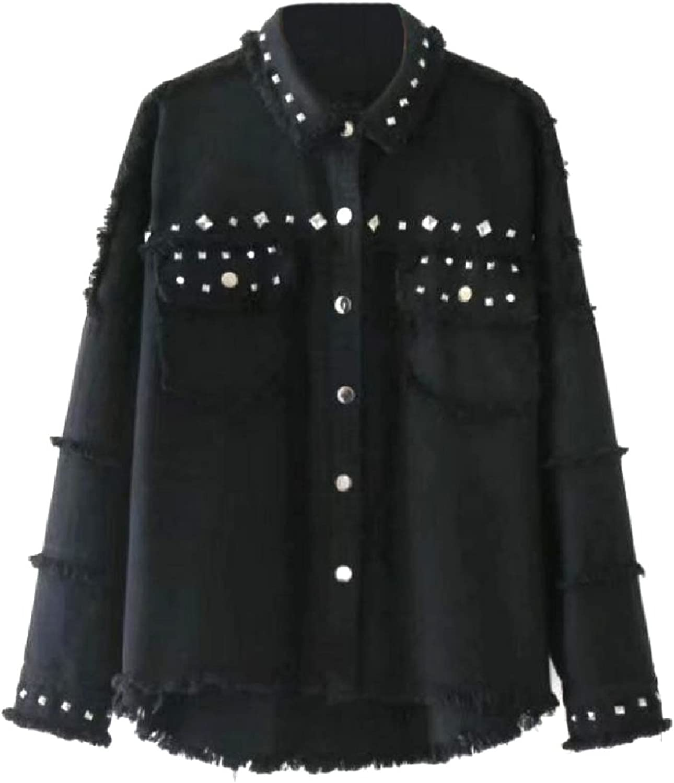 CoolredWomen Studded Rocker Punk Brushed Boyfriend Trucker Jacket