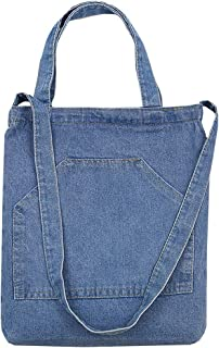 Van Caro Women Denim Shoulder Tote Crossbody Bag Casual Every-day Handbag Large Pocket