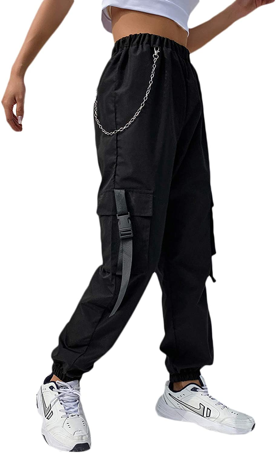 DIDK Women's High Waisted Flap Pocket Solid Jogger Cargo Pants with Chain