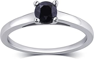 1.50 CTTW Black Diamond Solitaire Ring in Sterling Silver