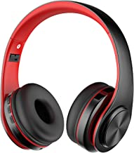 Alitoo Bluetooth Wireless Headphone Over Ear, Hi-Fi Stereo Headset Foldable Built in Microphone and Wired Mode Audio Rechargeable Headphones for iPad,TV,PC,Android,Smartphone,Tablets - Black&Red