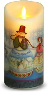 Ksperway Flameless Wax Candles, Moving Wick LED Pillar Candle with Blow ON/Off Control,Timer and Remote 3.5 by 7 Inch Picture (Snow Man)