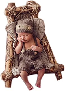 Vemonllas Fashion Newborn Boy Girl Baby Costume Outfits Photography Props Hat Pants Brown