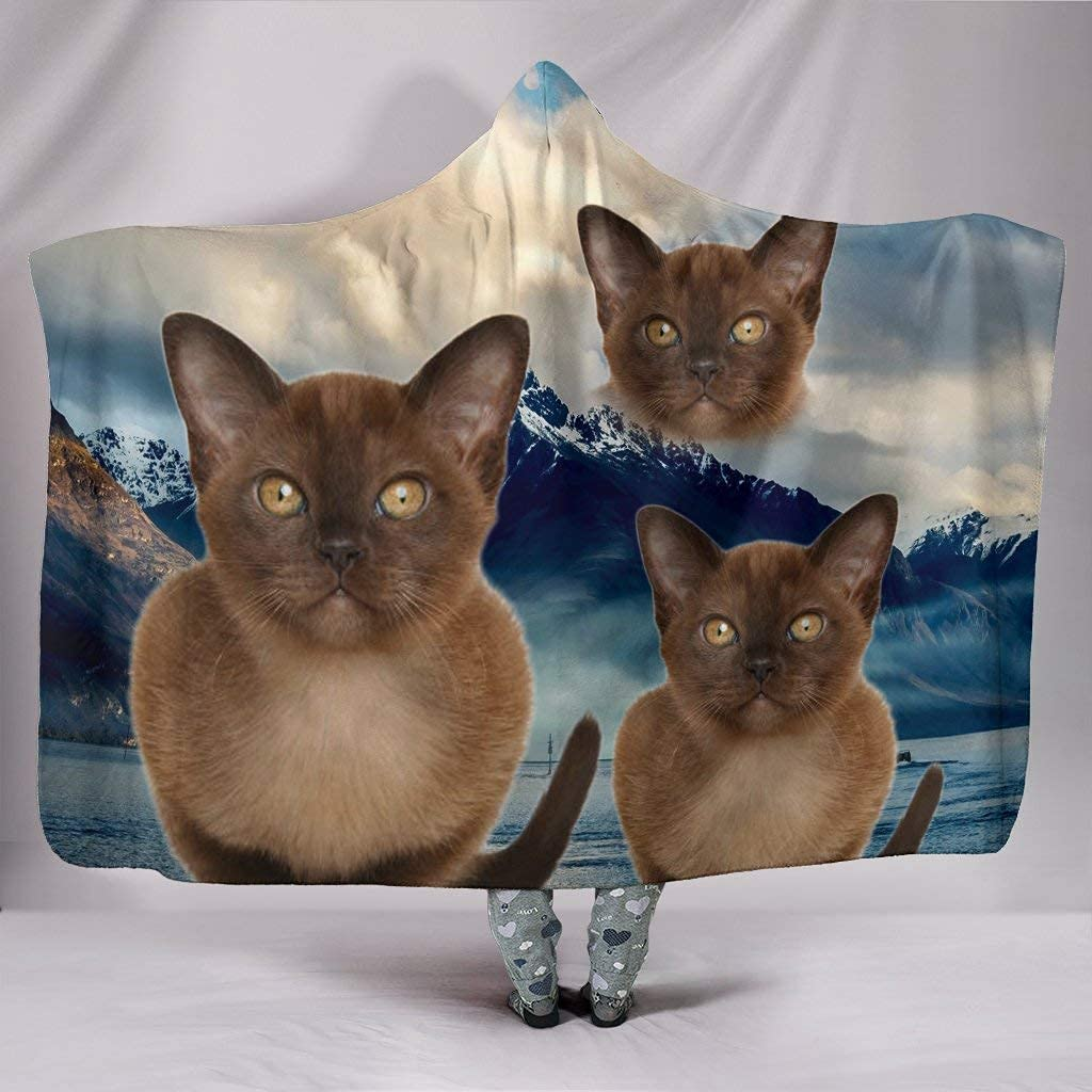 Cute 4 years warranty Burmese Complete Free Shipping Cat Print Hooded Blanket