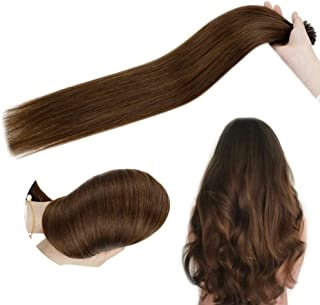 [only $19.99]Hetto 14Inch U Tip Extensions Real Human Hair #4 Brown 100% Brazilian Hair Pre Bonded Tip Hair Extensions 1G/Strand 50Gram Fusion Hair for Women