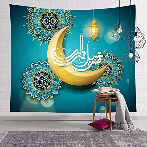 KHKJ Musulmán Luna Castillo Tapiz para Colgar en la Pared Viajar Camping Pintura al óleo Boho Manta Yoga Festival de Ramadán Tapices A4 150x130cm