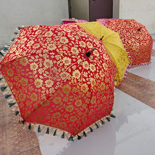 Worldoftextile 5 Stück Mix Lot indische Hochzeit Regenschirm Handarbeit Regenschirm Dekorationen Vintage Sonnenschirme Baumwolle Regenschirme