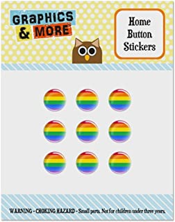 Rainbow Pride Gay Lesbian Contemporary Set of 9 Puffy Bubble Home Button Stickers Fit Apple iPod Touch, iPad Air Mini, iPhone 5/5c/5s 6/6s 7/7s Plus