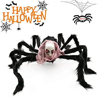 Halloween Decoration Black Large Spider Skull Skeleton Head with Vivid Red Eyes Red Scarf Foam Props for Indoor Outdoor Home Party Supplies Decor(30 inch)