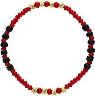 18k Gold Plated Stretch Evil Eye Protection Beaded Red Black Kids Bracelet 5.5