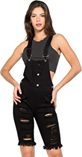 fb5692094f2e TwiinSisters Women s Destroyed Slim Curvy Pants Stretch Short Overalls Size  S - 3X