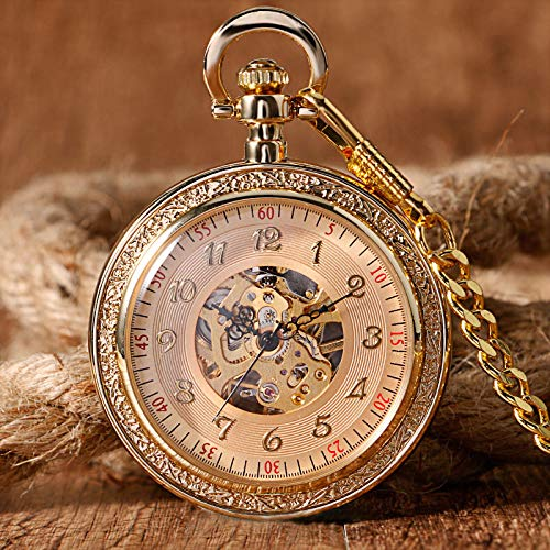 GIPOTIL Reloj de Bolsillo Bolsillo mecánico de Lujo de Oro Completo y amp;Fob Relojes Colgante Retro Moda Grabado Wind Up Hand Winding Hombres Mujeres Cadena