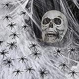 VZATT Toile d'araignée 4 Packs, Halloween Décoration Toile d'araignée 1000 Pieds carrés avec 16 Araignées, Extensible Toile d'araignée décorations d'halloween, créer Une atmosphère d'horreur
