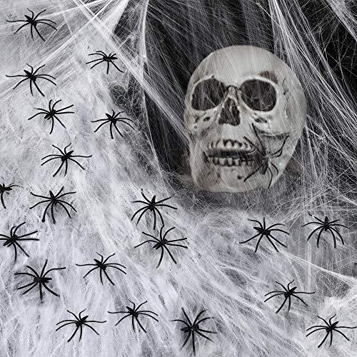 VZATT Halloween Spinnennetz 4 Packs, Halloween Deko Spinnennetz, 1000 Quadratmeter große Spinnennetze +16 Schwarze Spinnen, Spinnennetz im Innenbereich für Halloween-Partydekorationen