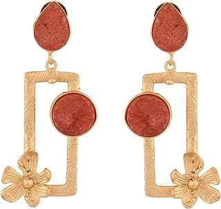 Efulgenz Indian Jewelry Bollywood Faux Pearls Stone Geometrical Dangle Drop Earrings Set for Women