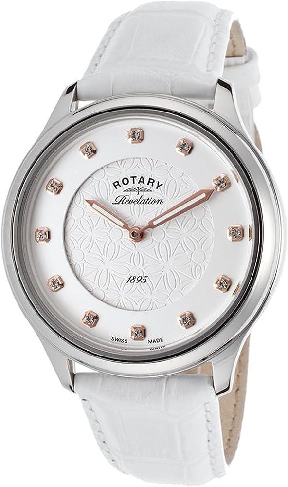 Rotary LS02965-06-41 Ladies Revelation いつでも送料無料 with White ◆在庫限り◆ Watch Leather