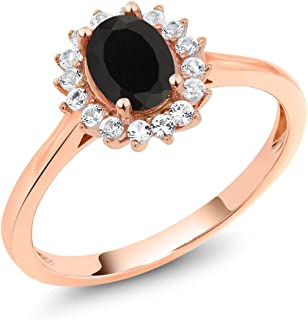 10K Rose Gold Black Onyx and White Created Sapphire Women Ring (1.04 Ct Oval Available in size 5, 6, 7, 8, 9)