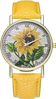 Contifan Reloj de Cuarzo para Mujer. Reloj de Cuarzo con Correa de Piel de Girasol T88.