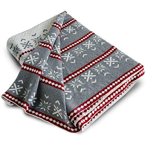 casa pura Wohndecke Isla mit Schneeflocken Muster   schadstoffgeprüft   kuschelige Decke aus Baumwolle   Größe wählbar (150x200 cm) Baumwolldecke - Kuscheldecke