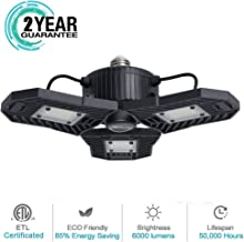 Garage Light, 60W LED Shop Light, 6000 Lumen Deformable Garage Lighting with 3 Adjustable Panels, Ceiling Lights for Garag...