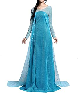 AE4 Adult Princess Lace Dress Inspire by Frozen Elsa Costume Dress Halloween Girl Cosplay Party S-XXL