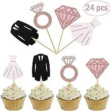 Mity Rain Bridal Shower Cupcake Toppers - Glitter Diamond Ring Wedding Dress cake Toppers Rose Gold for Wedding Party Engagement Bridal Shower Decorations(24 pcs)