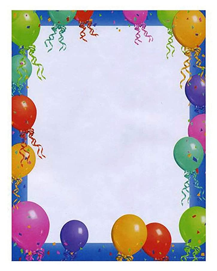 Stationery Paper With Balloon Printed Border (Pack of 100 Paper Sheets)   Letter Writing Stationery Paper, Paper for Art & Craft
