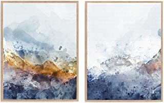 Watercolor Abstract Lanscape Print Set of 2, Minimalist Blue Mountain Art Poster, Nature Modern Home Décor 8x10 Unframed
