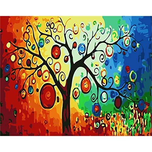 upnanren DIY Adult Preprinted Canvas Ölgemälde Geschenke Kinder Digital Suite Gemälde Familiendekoration-Cartoon Baum Laterne 16X20 Zoll-Mit Rahmen