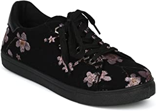 Women Embroidered Cherry Blossom Low Top Lace Up Sneaker HG71