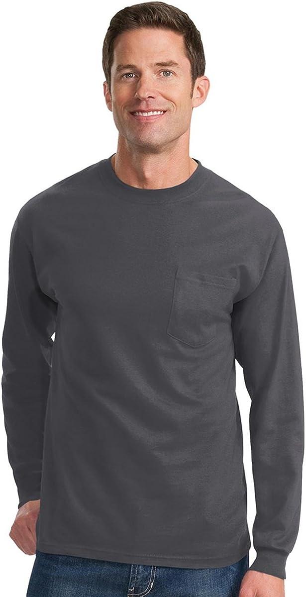 Port & Company Men's Big And Tall Long Sleeve Pocket T-Shirt_Charcoal_4XLT