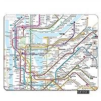 マップゲーミングマウスパッドニューヨーク地下鉄マップマウスパッド長方形マウスマット用コンピュータデスクラップトップオフィス9.5×7.9インチノンスリップラバー