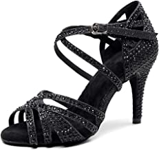 HIPPOSEUS Women Ballroom Dance Shoes with Rhinestone Latin Salsa Social Wedding Performance Dance Shoes,Model 7164