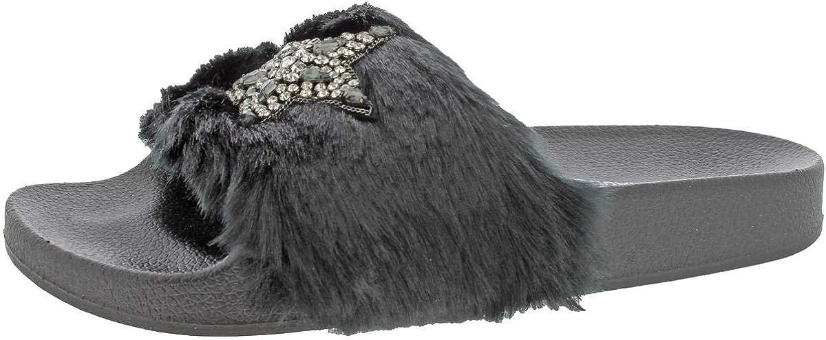 Steve Madden Womens Shimmer Embellished Casual Slide Sandals