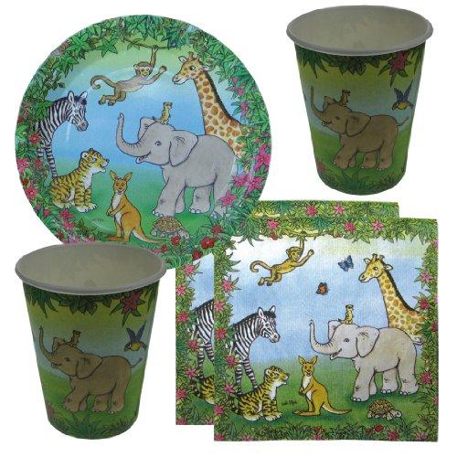Partyset Wildtiere, 44-tlg., Kindergeburtstag mit 12 Kindern; 12 Papp-Teller, 12 Papp-Bechern, 20 Servietten mit Tiermotiven mit Tieren aus dem Dschungel