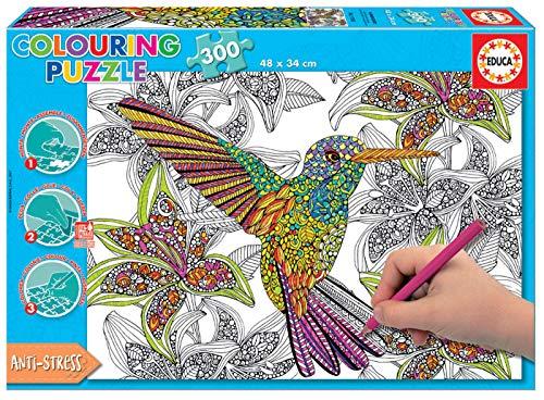 Educa - Hummingbird Puzzle para Colorear, 300 Piezas, Multic