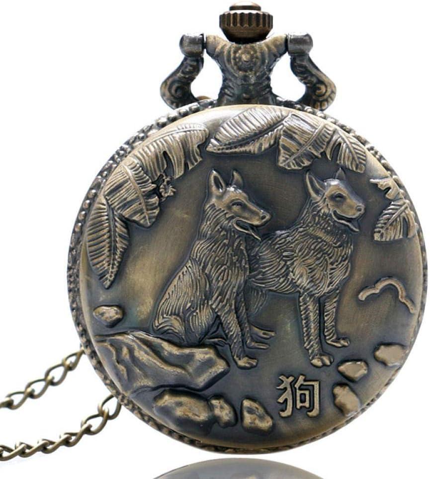 Reloj de bolsillo preciso estilo antiguo bronce chino zodiaco 3D perro grabado cuarzo reloj de bolsillo collar colgante vintage mejor regalo para hombres mujeres JoinBuy.R