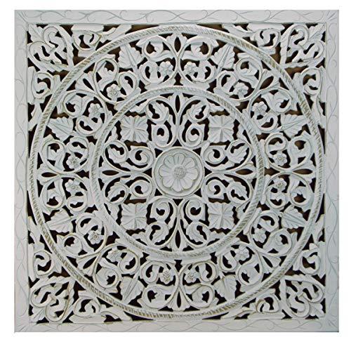 Mandala de Pared, Fabricada artesanalmente en España- tamaño 80x80 cm, Modelo GR94. Forma Cuadrada (Blanco DECAPE)