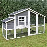 zoo-xxl Hühnerhaus Hühnerstall Hühnervoliere Kükenstall Wachtelstall Wilma 199 x 74,5 x 116 cm mit Nistkasten und Auslauf